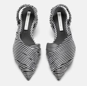 Zara Black White Striped Slingback Kitten Heel